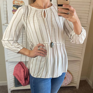 Fever white striped boho peasant blouse